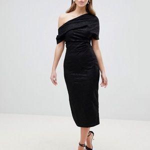 NWT LBD! Black lace midi off shoulder midi dress